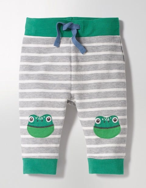 Fun Knee Pants Grey Marl/Ecru Frog Baby Boden