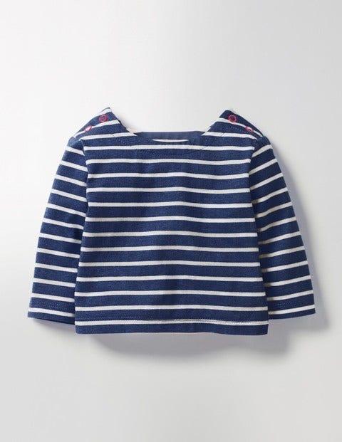 Elbow Patch Breton T-shirt Beacon Blue/Ecru Baby Boden
