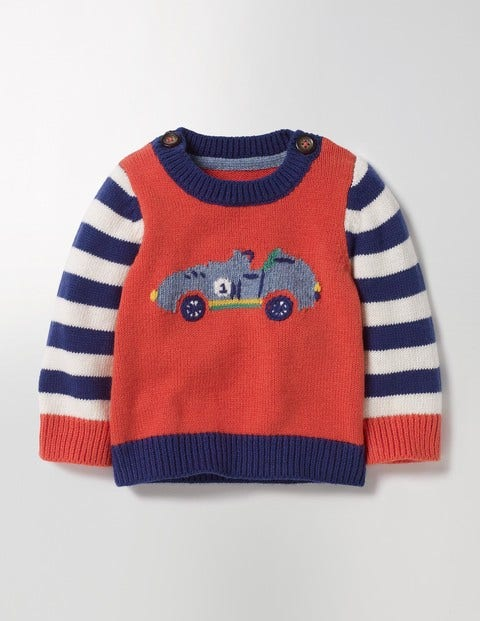 Fun Knitted Sweater Crayon Red Cars Baby Boden