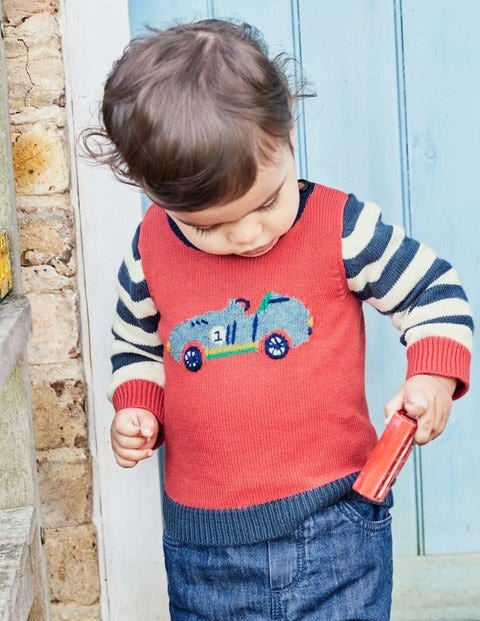 Fun Knitted Sweater - Crayon Red Cars