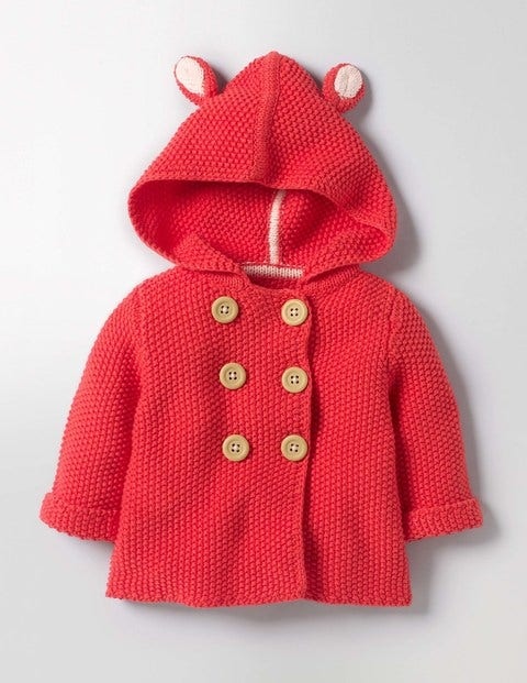 Fun Animal Knitted Jacket Jam Red Baby Boden