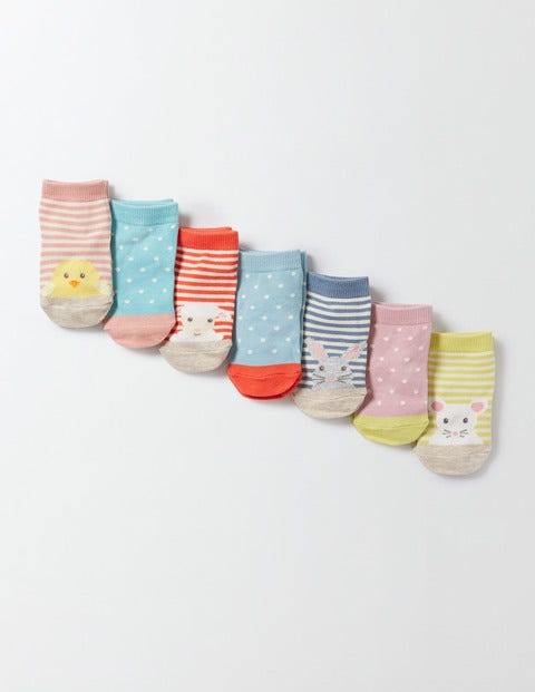 7 Pack Sock Box Animals/Pin Spot Baby Boden, Multi