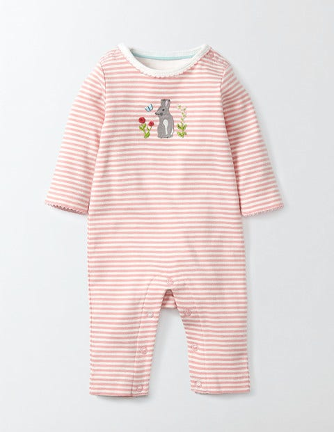 Bunny Appliqué Romper Shell Pink/Ivory Stripe Baby Boden, Shell Pink/Ivory Stripe