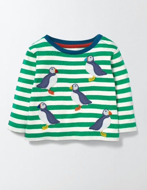 Fun Striped Tshirt Astro GreenPuffins Baby Boden Astro GreenPuffins