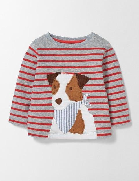 Fun Animal Tshirt Grey MarlRed Admiral Stripe Baby Boden Grey MarlRed Admiral Stripe
