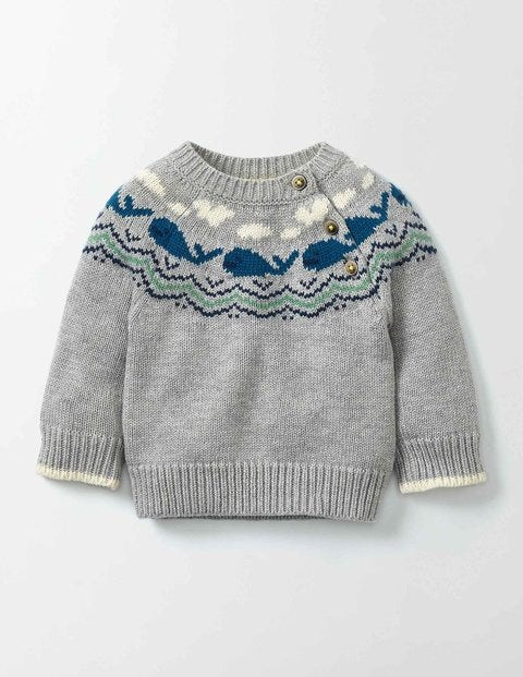 Whales Knitted Jumper Grey Marl Knit Baby Boden Grey Marl Knit
