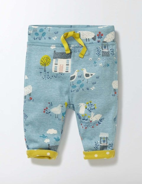 Supersoft Reversible Trousers Mineral Blue Spring Farm Baby Boden, Mineral Blue Spring Farm