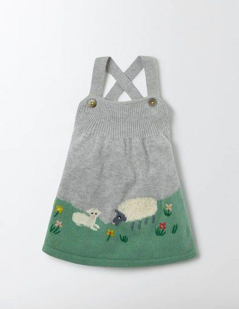 Farmyard Knitted Dress Grey Marl Knit Baby Boden Grey Marl Knit