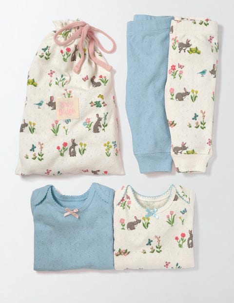 Cosy Pointelle Pack Multi Bunnies Baby Boden, Multi Bunnies.