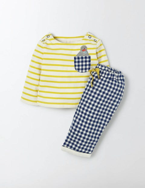 Fun Pocket Play Set Cantelope Stripe/Seal Baby Boden, Cantelope Stripe/Seal