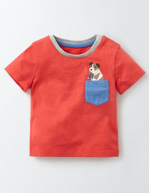 Fun Pocket T-Shirt Red Crayon/Sprout Baby Boden, Red.