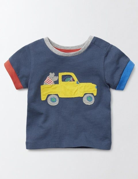 Vehicle Appliqué T-Shirt Dusky Blue/Truck Baby Boden