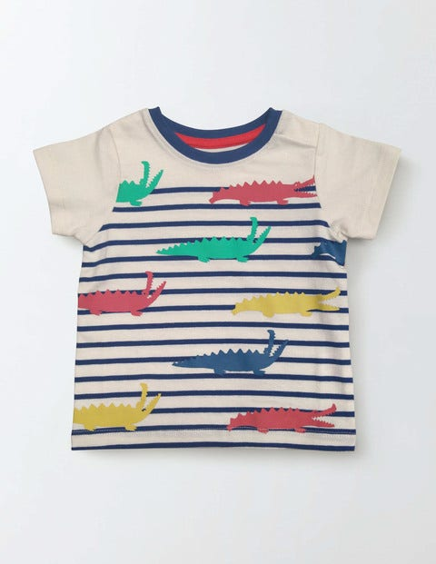 Summer Stripy T-shirt Grey Marl/Rhinos Baby Boden