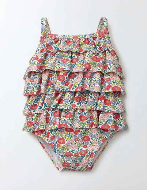Baby Ruffle Swimsuit Peach Sorbet Mini Flower Bed Baby Boden