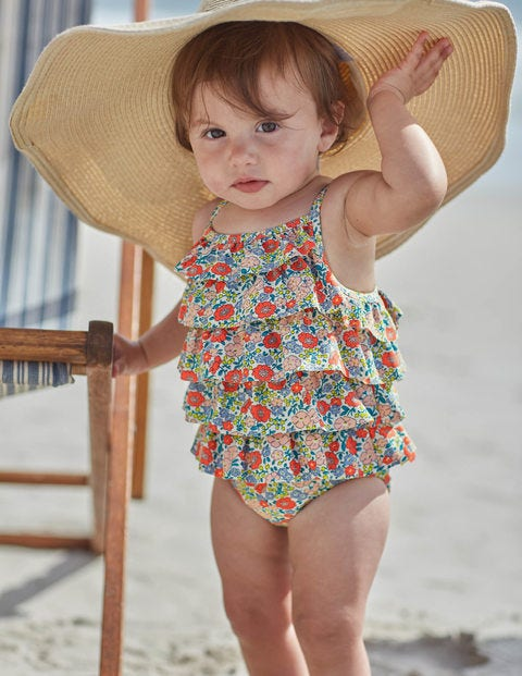 Baby Ruffle Swimsuit - Peach Sorbet Mini Flower Bed