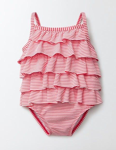Baby Ruffle Swimsuit Raspberry Whip/Ivory Stripe Baby Boden