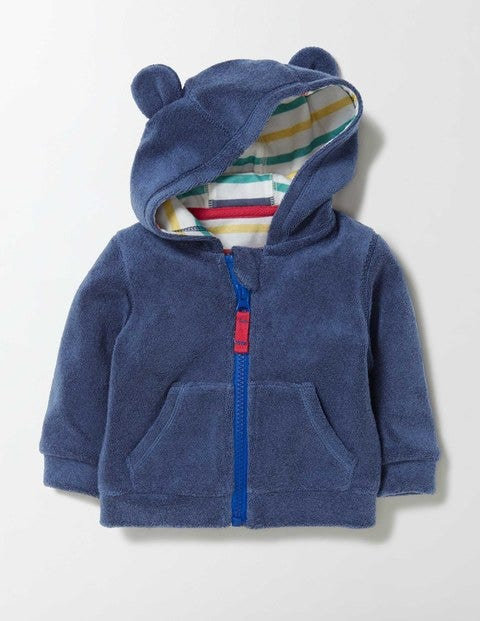 Baby Towelling Hoodie Dusky Blue Baby Boden Dusky Blue
