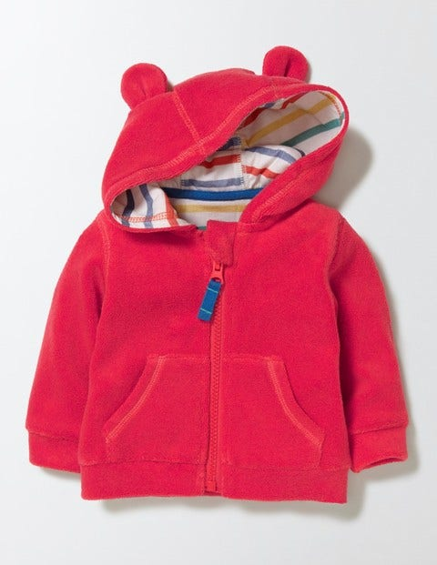 Baby Towelling Hoodie Red Crayon Baby Boden Red Crayon