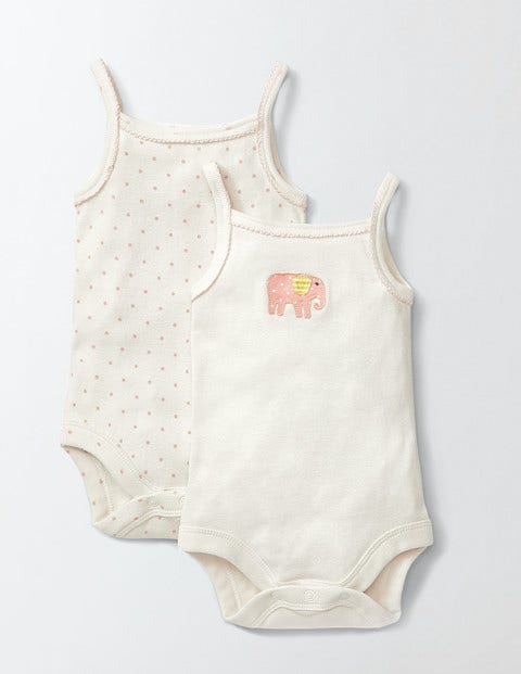 Twin Pack Pretty Vests Ivory/Elephant Baby Boden, Ivory/Elephant