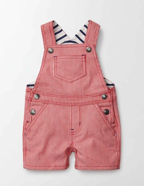 Dungaree Shorts Red Admiral Stripe Baby Boden, Red