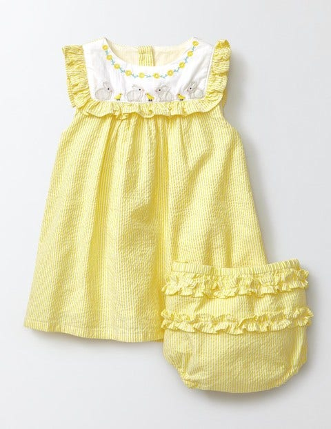 Embroidered Ruffle Dress Pineapple Stripe/Bunnies Baby Boden