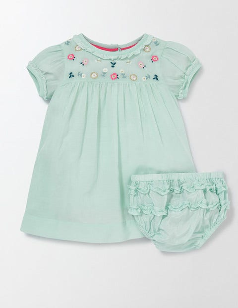 Embroidered Smock Dress Azure Mist Girls Boden