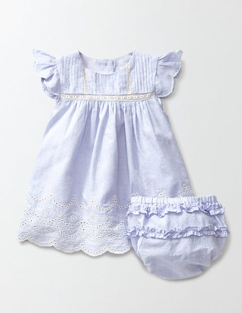 Vintage Style Children's Clothing: Girls, Boys, Baby, Toddler Broderie Summer Dress Blue Chambray Baby Boden Blue Chambray £28.00 AT vintagedancer.com