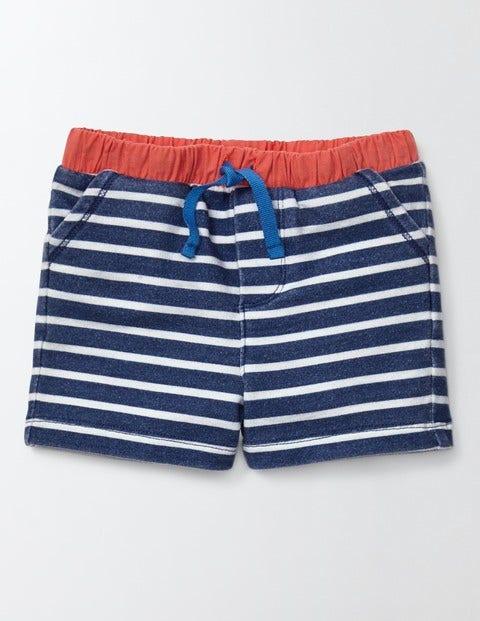 Jersey Shorts Dusky Blue/Ivory Stripe Baby Boden