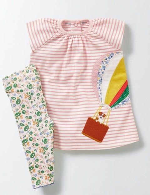Stripy Dress & Legging Set Ivory/Chalky Pink/Balloon Baby Boden, Ivory/Chalky Pink/Balloon