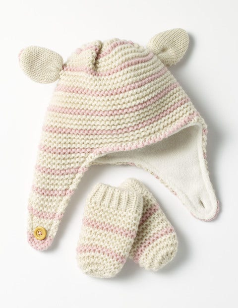 Image of Cosy Hat & Mittens Set Ivory Baby Boden, Ivory