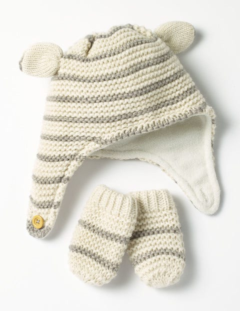 Image of Cosy Hat & Mittens Set Ecru/Grey Baby Boden, Ivory