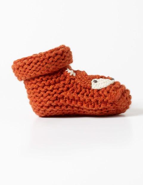Fox Knitted Booties Auburn Orange Boys Boden