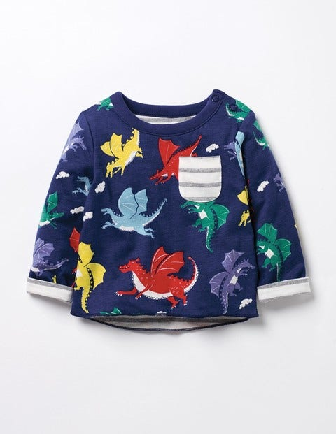 Reversible Printed T-shirt Starboard Blue Baby Dragons Baby Boden
