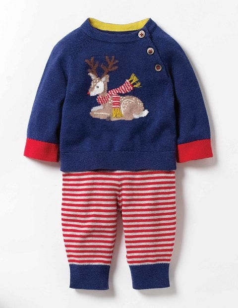 Fun Knitted Play Set Beacon Blue Deer Baby Boden