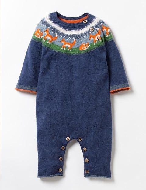Fun Fox Knitted Romper Beacon Blue Fox Fair Isle Baby Boden