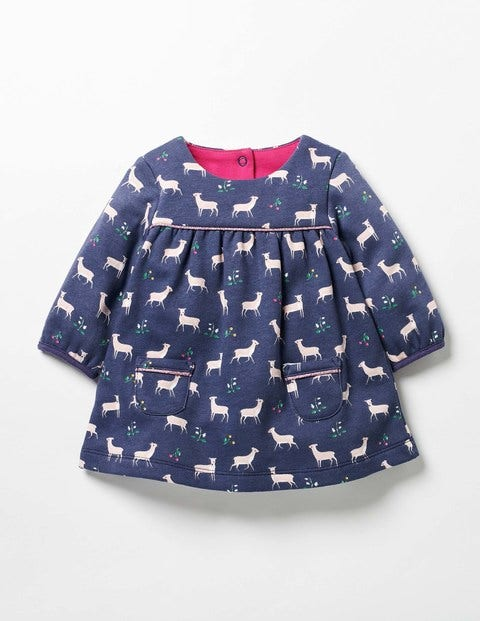 Cosy Jersey Deer Dress Naval Blue Baby Fawn Baby Boden