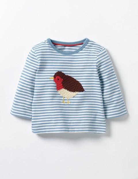 Crochet Animal T-shirt Wren Blue/Ecru Robin Baby Boden