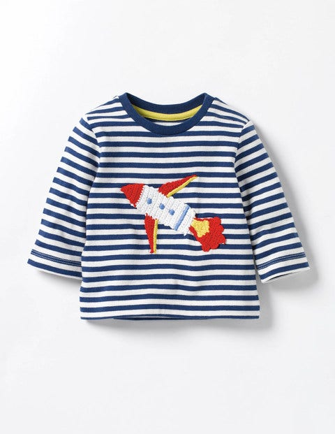 Fun Crochet T-shirt Beacon Blue/Ecru Rocket Baby Boden
