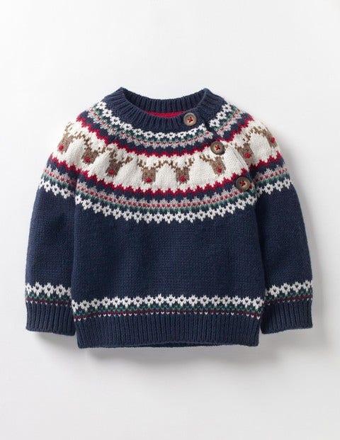 Fair Isle Sweater Beacon Blue Reindeer Baby Boden