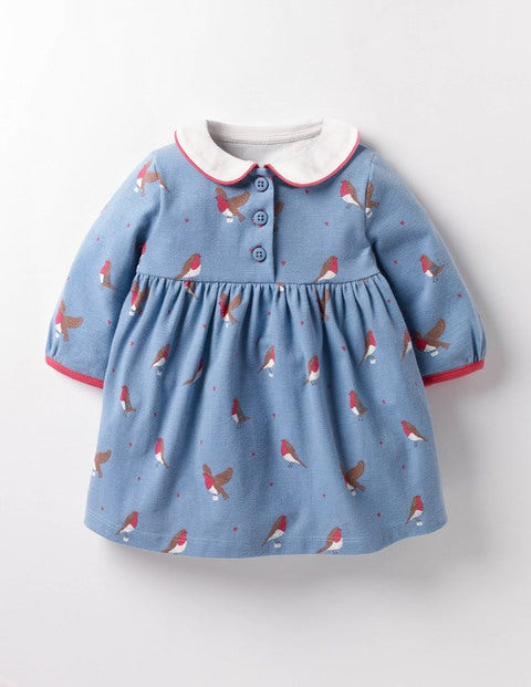 Robins Jersey Dress Wren Blue Postie Robins Baby Boden