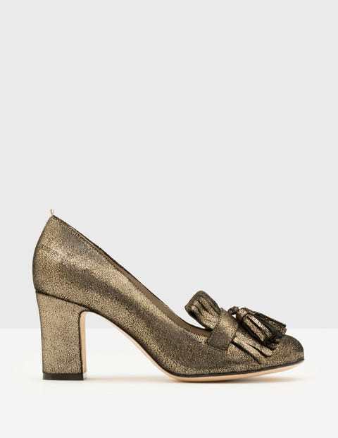 Pippa Heeled Loafers - Antique Gold Crackle Metallic