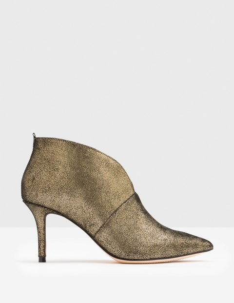 Alexa Heeled Boots - Antique Gold Crackle Metallic
