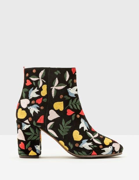 Folk Embroidered Boots Black Folklore Women Boden