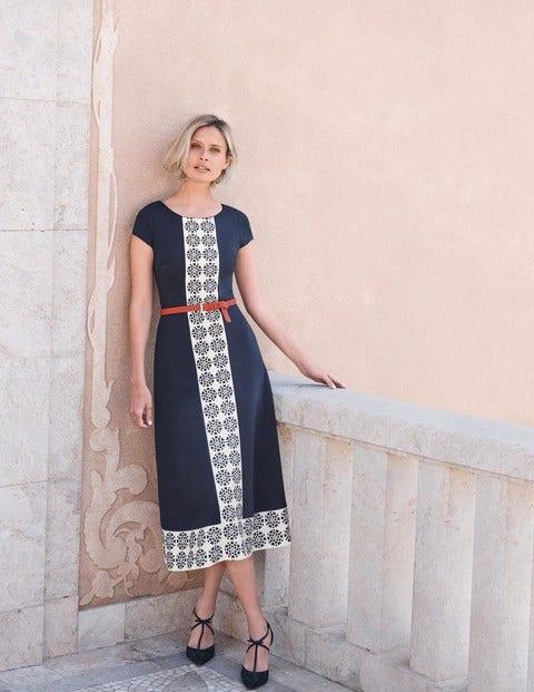 Frederica Ponte Dress - Navy Tile Heart Stripe
