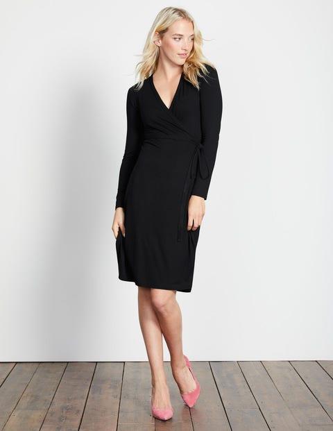 Wrap Jersey Dress Black Women Boden