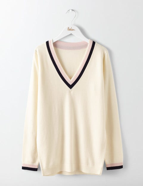 Vintage Sweaters – 1910s, 1920s, 1930s Pictures Relaxed Cricket Jumper Ivory Women Boden Ivory £55.00 AT vintagedancer.com