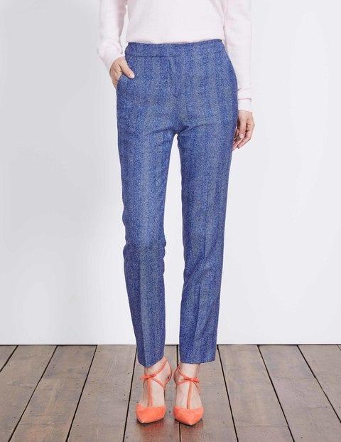 British Tweed 7/8 Trousers Blue and Ivory Herringbone Women Boden, Blue