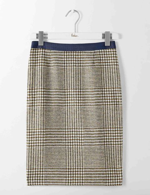 British Tweed Pencil Skirt Reed Prince of Wales Check Women Boden