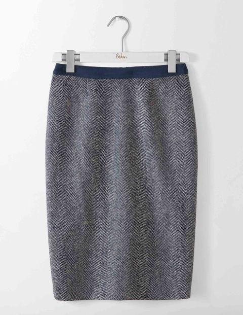 British Tweed Pencil Skirt Navy and Ivory Herringbone Women Boden