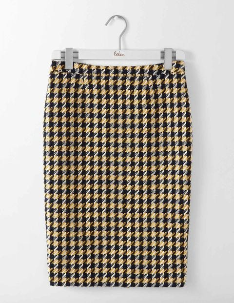 Freya Pencil Skirt Navy and Yellow Check Women Boden